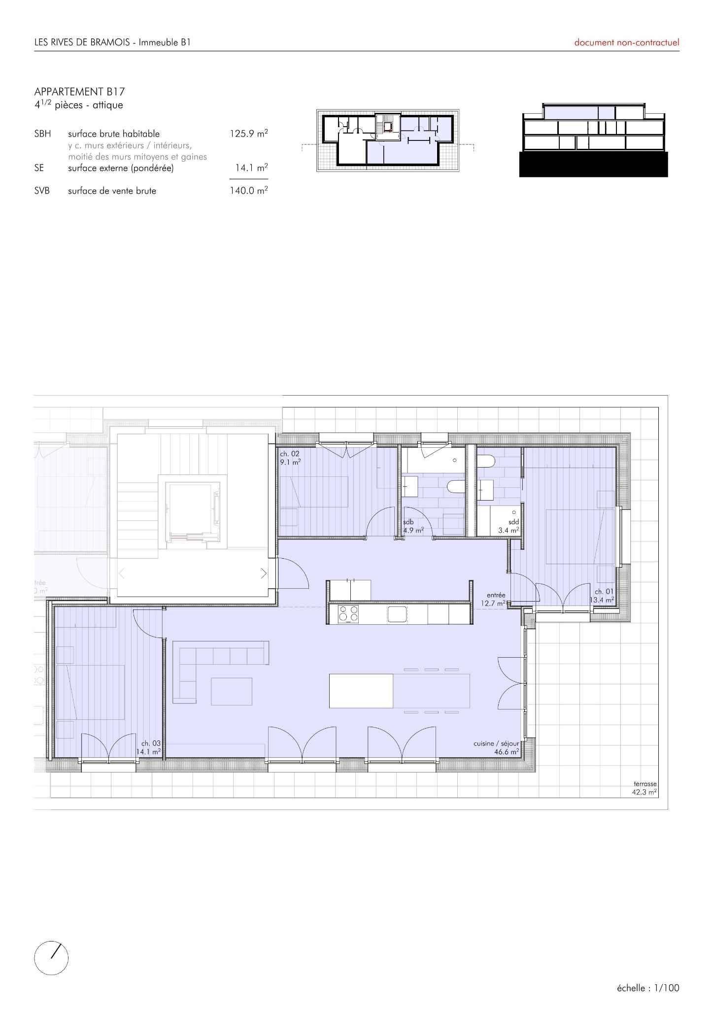 B17 - 4.5 pces en attique